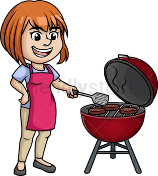 Woman grilling beef burgers. PNG - JPG and vector EPS (infinitely scalable). Image isolated on transparent background.