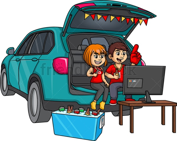 Couple tailgating. PNG - JPG and vector EPS (infinitely scalable).
