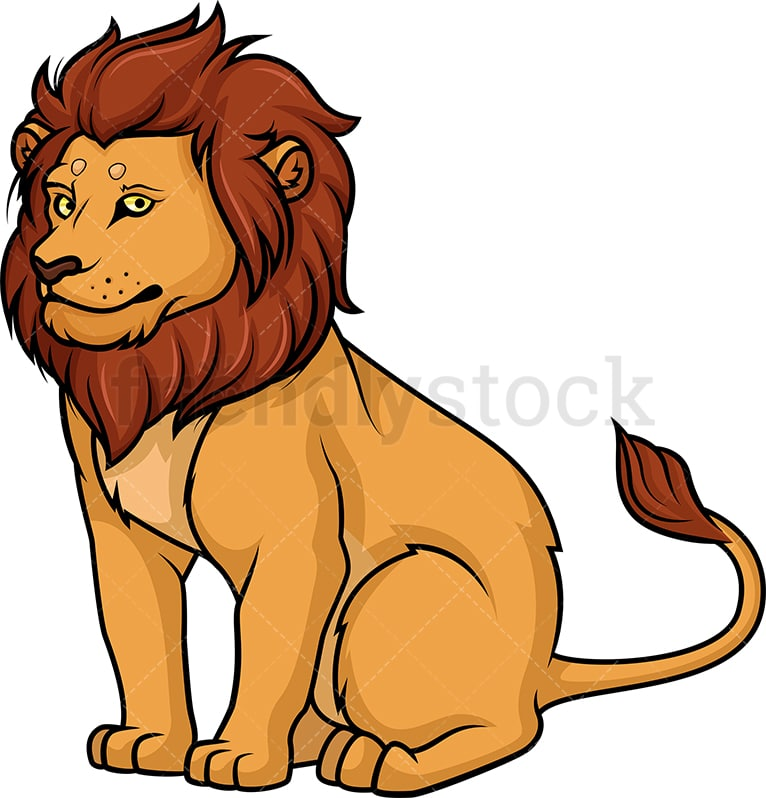 Lion Sitting Cartoon Clipart Vector - FriendlyStock (766 x 798 Pixel)