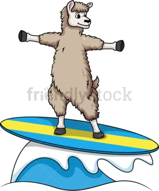 Llama surfing. PNG - JPG and vector EPS (infinitely scalable).