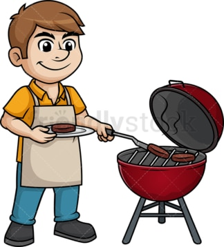 Man cooking bbq. PNG - JPG and vector EPS (infinitely scalable). Image isolated on transparent background.