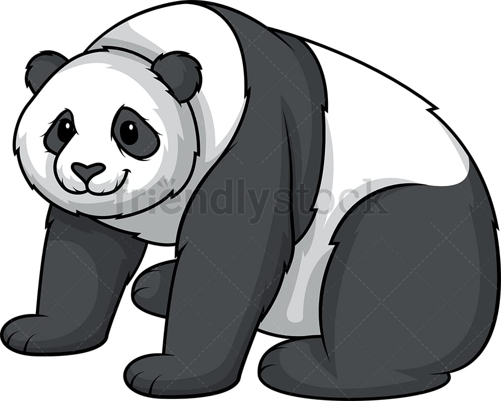 Panda Bear Sitting Cartoon Clipart Vector - FriendlyStock