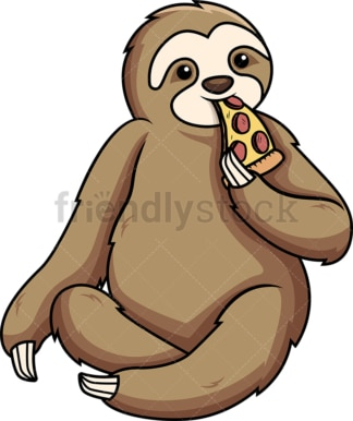 Sloth eating pizza. PNG - JPG and vector EPS (infinitely scalable).