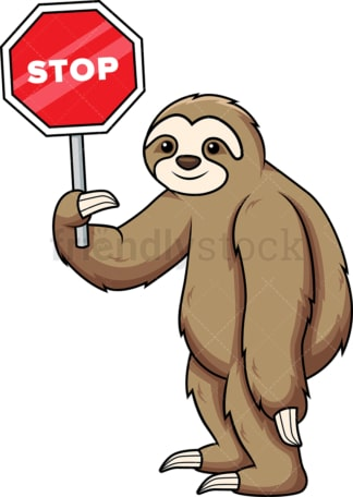 Sloth holding stop sign. PNG - JPG and vector EPS (infinitely scalable).