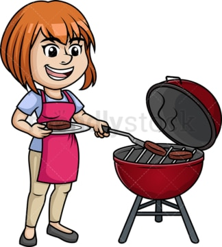 Woman cooking bbq. PNG - JPG and vector EPS (infinitely scalable). Image isolated on transparent background.