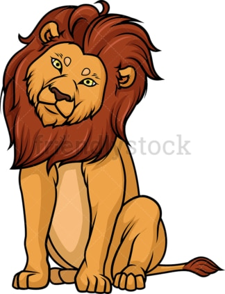 Curious lion tilting its head. PNG - JPG and vector EPS (infinitely scalable).