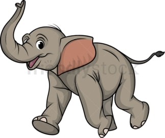 Excited elephant running. PNG - JPG and vector EPS (infinitely scalable).