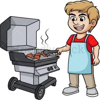 Man grilling chicken wings. PNG - JPG and vector EPS (infinitely scalable). Image isolated on transparent background.