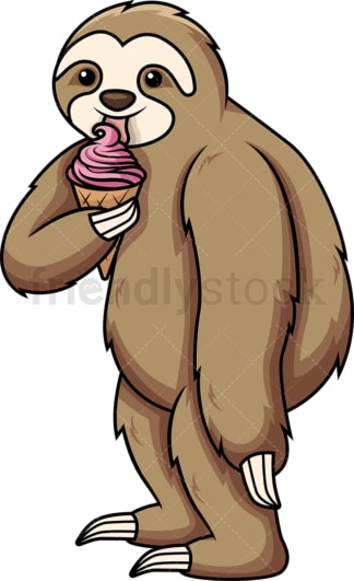 Sloth eating ice cream. PNG - JPG and vector EPS (infinitely scalable).