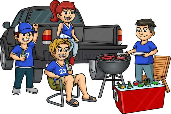 Sports fans tailgate party. PNG - JPG and vector EPS (infinitely scalable).