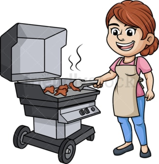 Woman grilling chicken wings. PNG - JPG and vector EPS (infinitely scalable). Image isolated on transparent background.