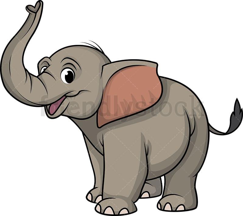 Happy Elephant Cartoon Clipart Vector - FriendlyStock