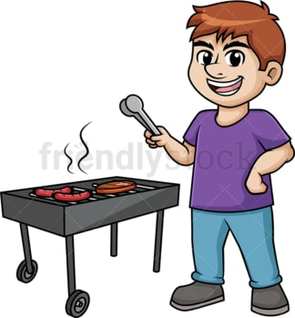 Man barbecuing. PNG - JPG and vector EPS (infinitely scalable). Image isolated on transparent background.