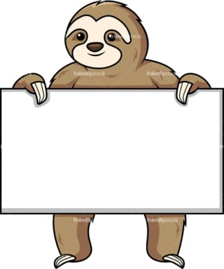 Sloth holding empty sign. PNG - JPG and vector EPS (infinitely scalable).