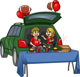 Sports fans tailgating. PNG - JPG and vector EPS (infinitely scalable).