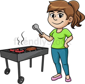 Woman barbecuing. PNG - JPG and vector EPS (infinitely scalable). Image isolated on transparent background.