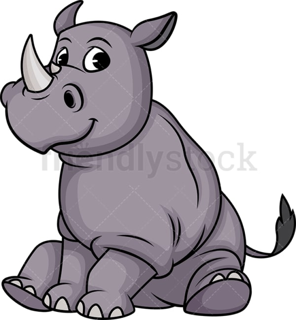 Cute rhino sitting. PNG - JPG and vector EPS (infinitely scalable).