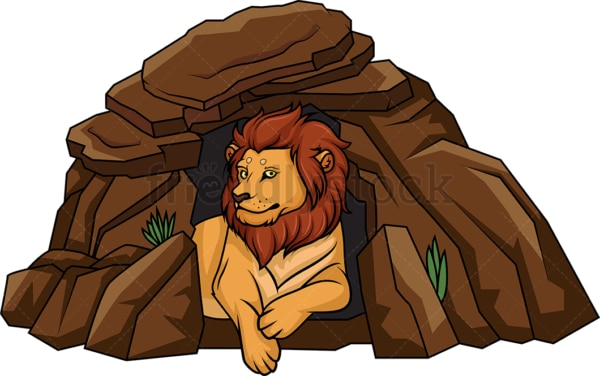 Lion lying in its den. PNG - JPG and vector EPS (infinitely scalable).