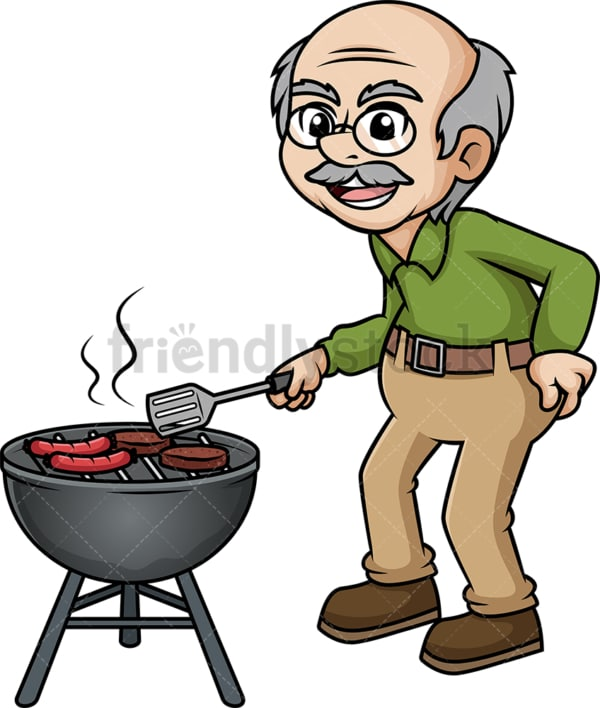 Old man barbecuing. PNG - JPG and vector EPS (infinitely scalable). Image isolated on transparent background.