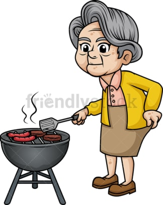 Old woman barbecuing. PNG - JPG and vector EPS (infinitely scalable). Image isolated on transparent background.