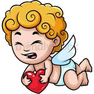 Sad cupid carrying red heart. PNG - JPG and vector EPS (infinitely scalable).