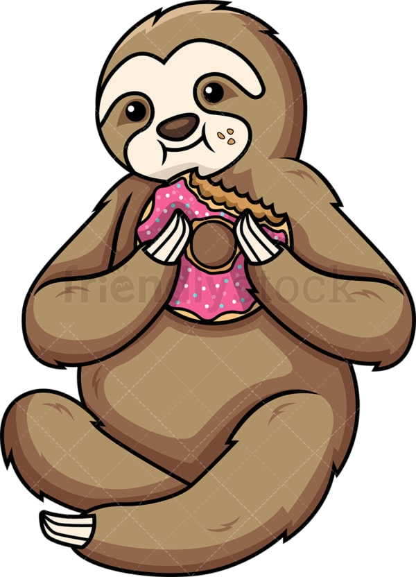 Sloth eating donut. PNG - JPG and vector EPS (infinitely scalable).