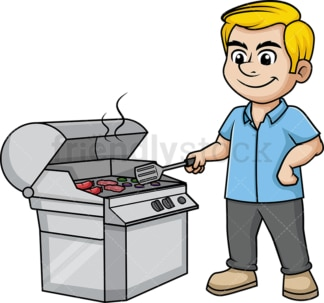 Man cooking on the grill. PNG - JPG and vector EPS (infinitely scalable). Image isolated on transparent background.