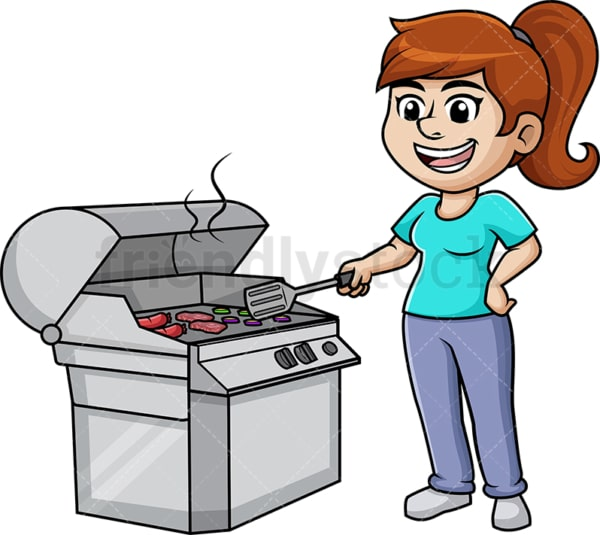 Woman cooking on the grill. PNG - JPG and vector EPS (infinitely scalable). Image isolated on transparent background.
