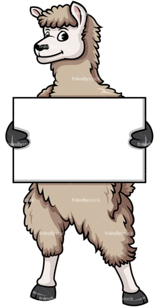 Llama holding empty sign. PNG - JPG and vector EPS (infinitely scalable).