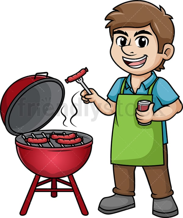 Man cooking barbecue. PNG - JPG and vector EPS (infinitely scalable). Image isolated on transparent background.