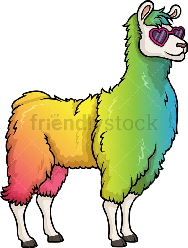 Rainbow llama. PNG - JPG and vector EPS (infinitely scalable).