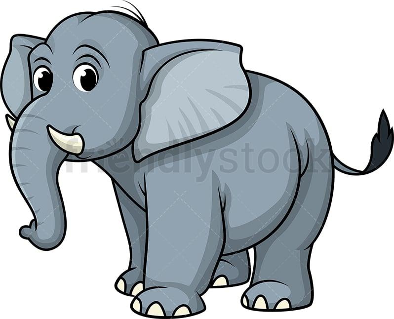 Wild Blue Elephant Cartoon Clipart Vector - FriendlyStock