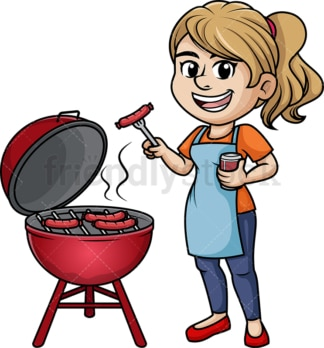 Woman cooking barbecue. PNG - JPG and vector EPS (infinitely scalable). Image isolated on transparent background.