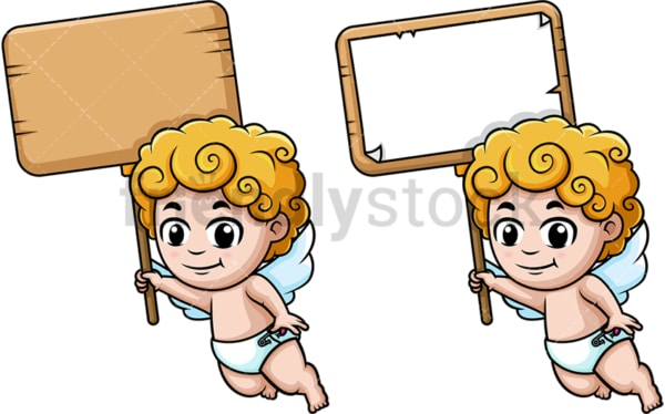 Cupid holding blank sign. PNG - JPG and vector EPS (infinitely scalable).