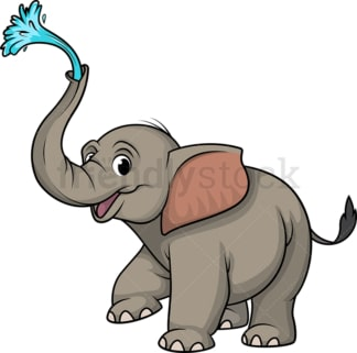 Elephant spraying water with trunk. PNG - JPG and vector EPS (infinitely scalable).