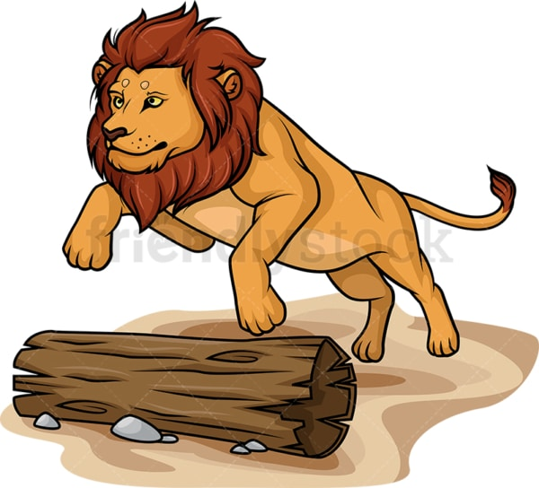 Lion jumping over tree trunk. PNG - JPG and vector EPS (infinitely scalable).