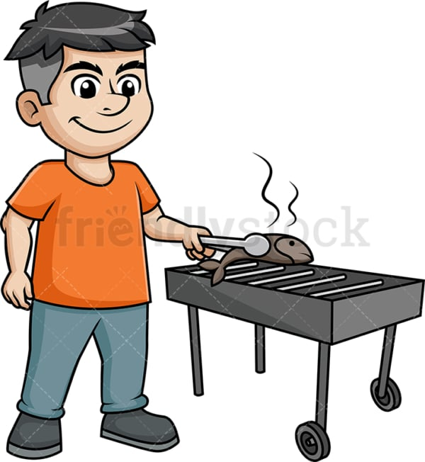 Man grilling fish. PNG - JPG and vector EPS (infinitely scalable). Image isolated on transparent background.