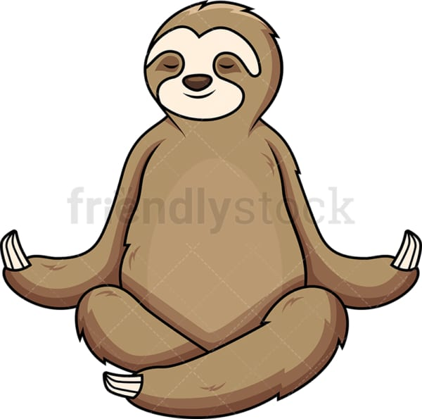 Sloth meditating. PNG - JPG and vector EPS (infinitely scalable).
