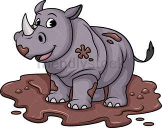 Dirty rhino in mud. PNG - JPG and vector EPS (infinitely scalable).