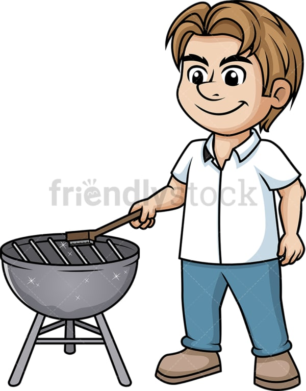 Man cleaning bbq grill. PNG - JPG and vector EPS (infinitely scalable). Image isolated on transparent background.