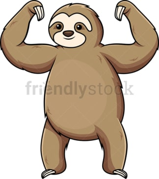 Sloth flexing muscles. PNG - JPG and vector EPS (infinitely scalable).