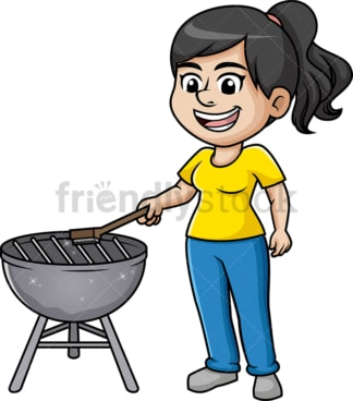Woman cleaning bbq grill. PNG - JPG and vector EPS (infinitely scalable). Image isolated on transparent background.