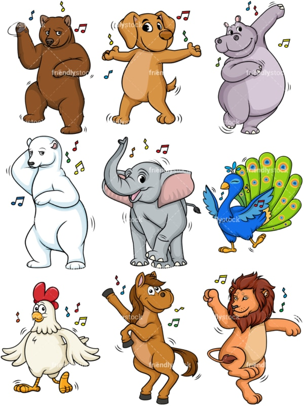 Animals dancing. PNG - JPG and vector EPS file formats (infinitely scalable).