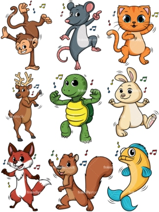 Dancing animals. PNG - JPG and vector EPS file formats (infinitely scalable).