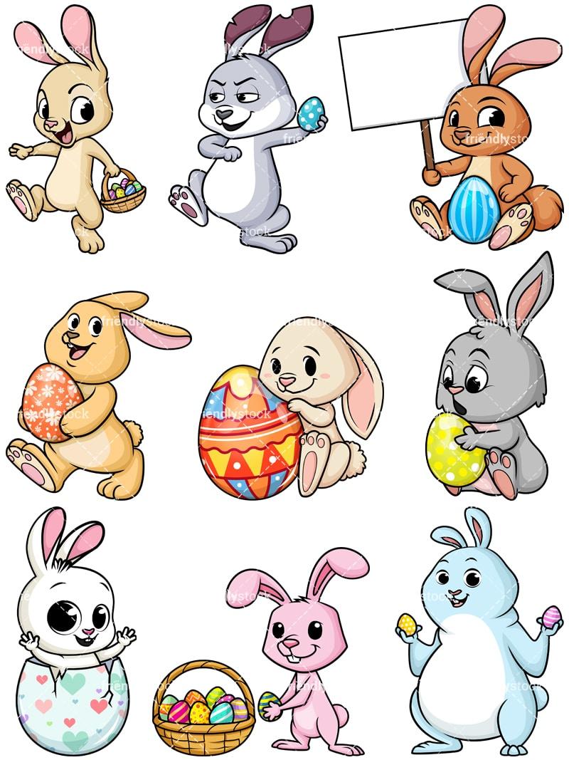 Easter Bunnies Cartoon Vector Clipart - FriendlyStock