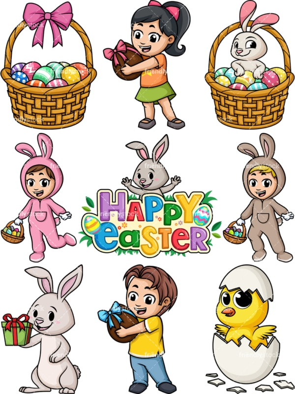 Easter cartoon clipart. PNG - JPG and vector EPS file formats (infinitely scalable).