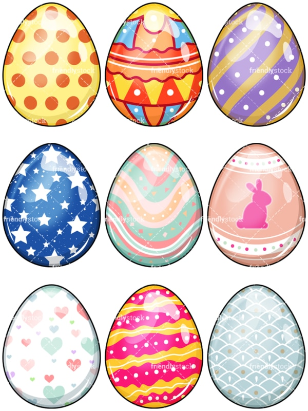 Easter eggs. PNG - JPG and vector EPS file formats (infinitely scalable). Image isolated on transparent background.
