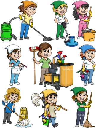 Female cleaning professionals. PNG - JPG and vector EPS file formats (infinitely scalable).