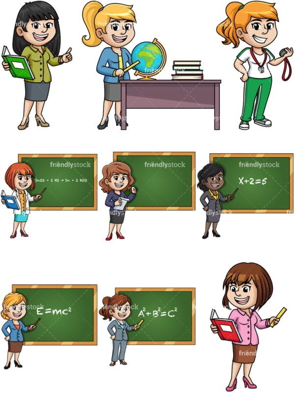 Female teachers. PNG - JPG and vector EPS file formats (infinitely scalable).