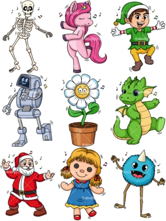Fictional characters dancing. PNG - JPG and vector EPS file formats (infinitely scalable).